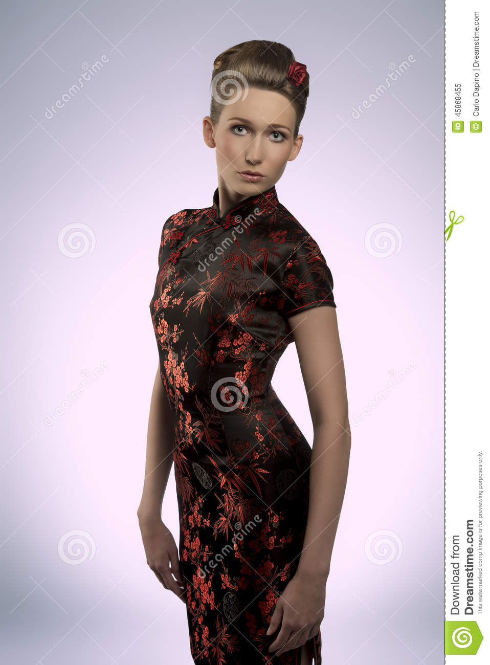 Pretty Girl With Oriental Fashion Style Stock Photo