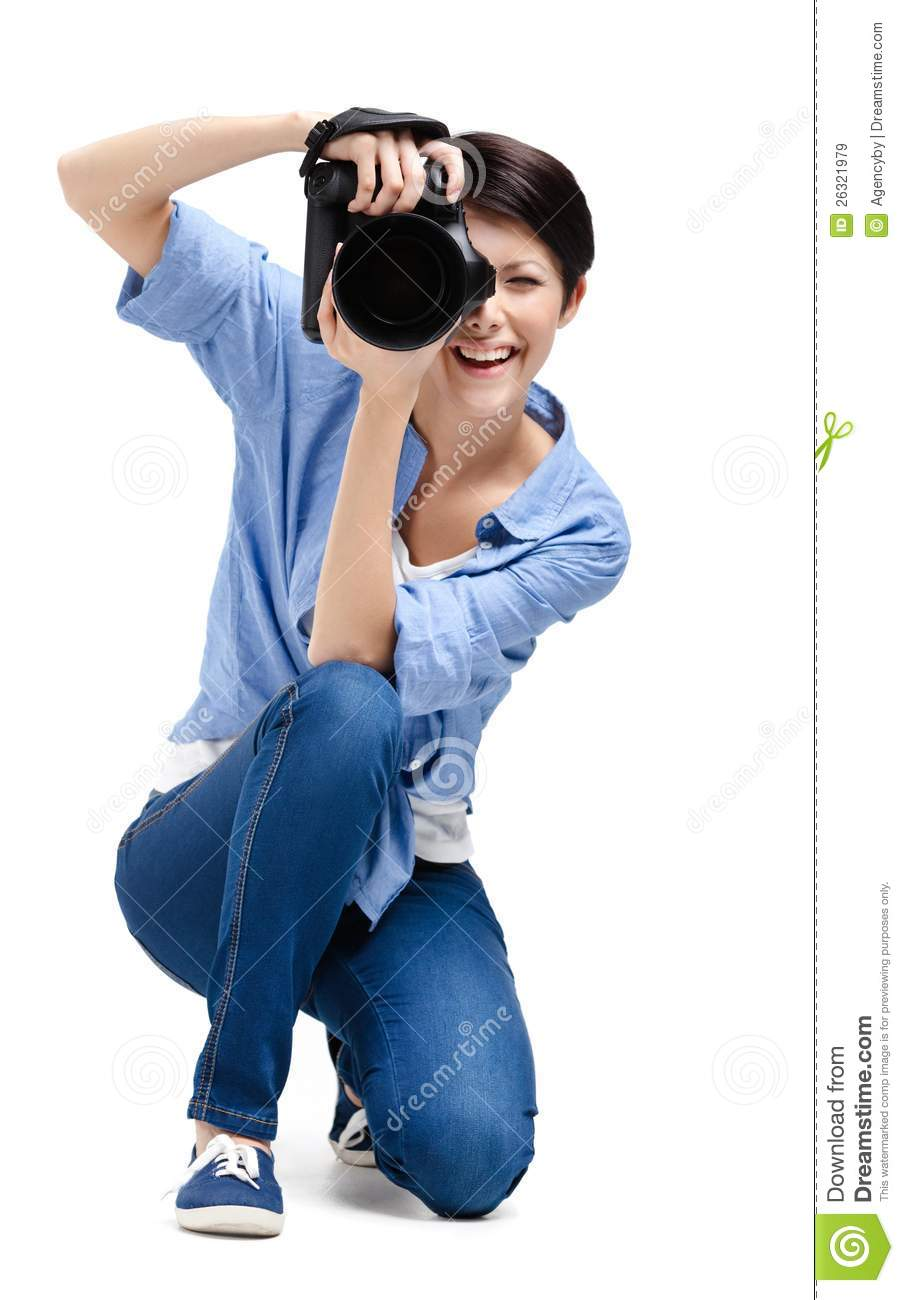 Pretty Girl Photographer Takes Images Stock Image Image