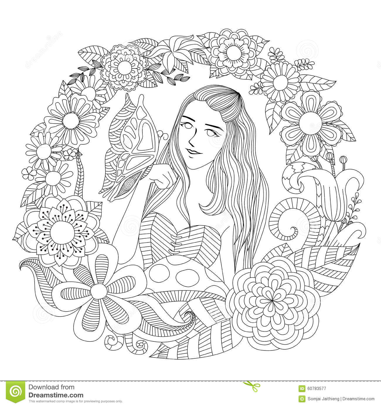Pretty Girl Playing With Butterfly In The Flowers Garden Line Art ...