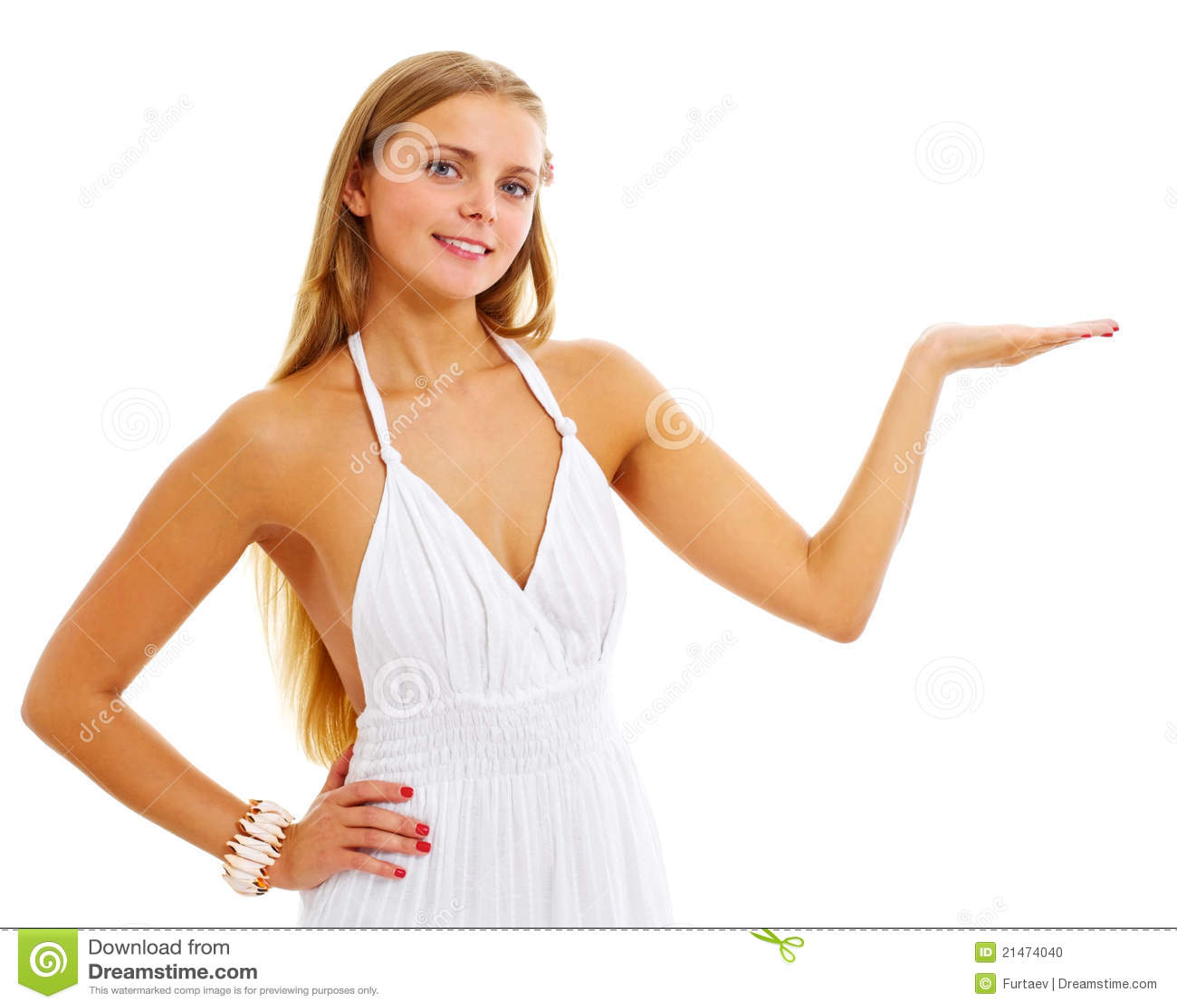Pretty Girl Presenting Product Stock Photo