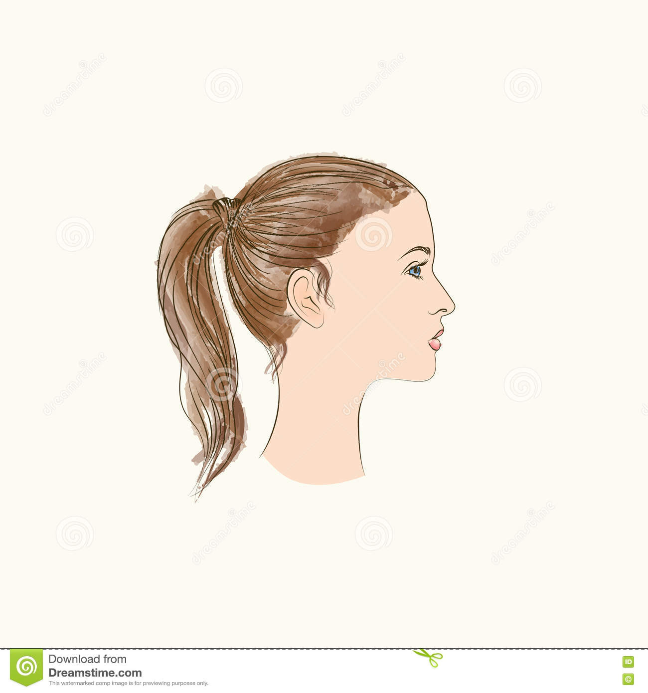 pretty girl profile young woman face sketching portrait stock