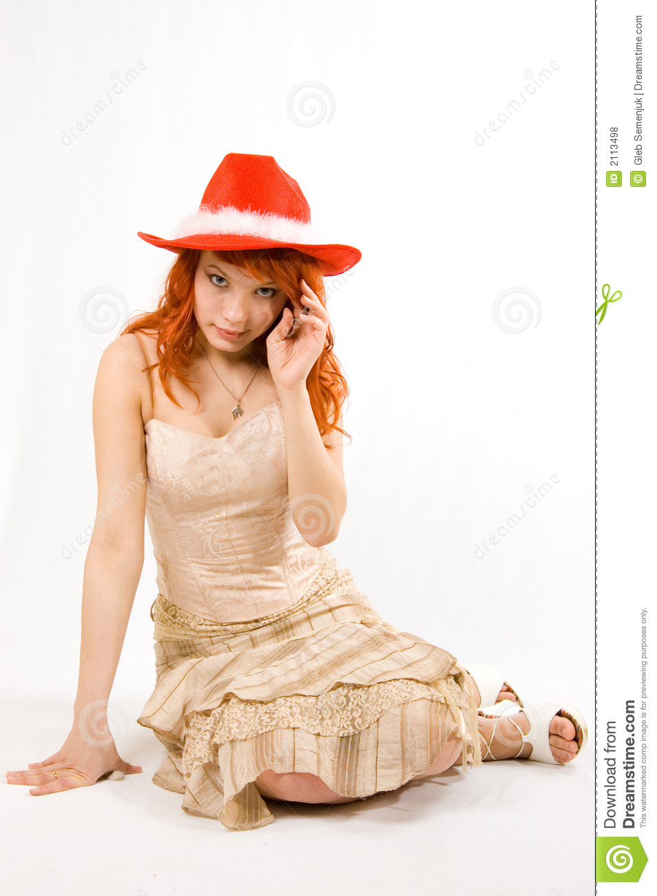 Pretty girl in a red hat
