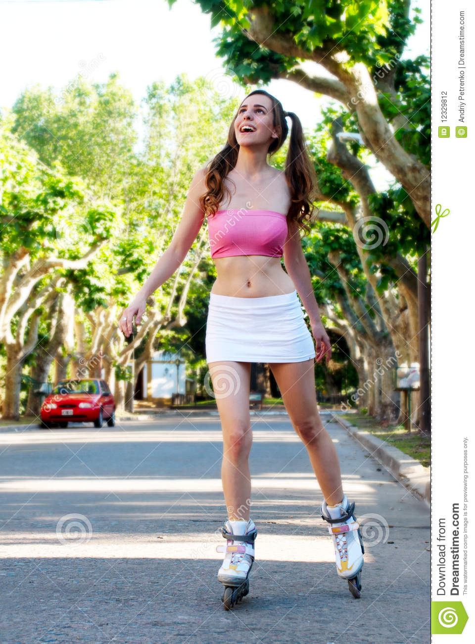 Pretty girl rollerblading stock photo. Image of ...