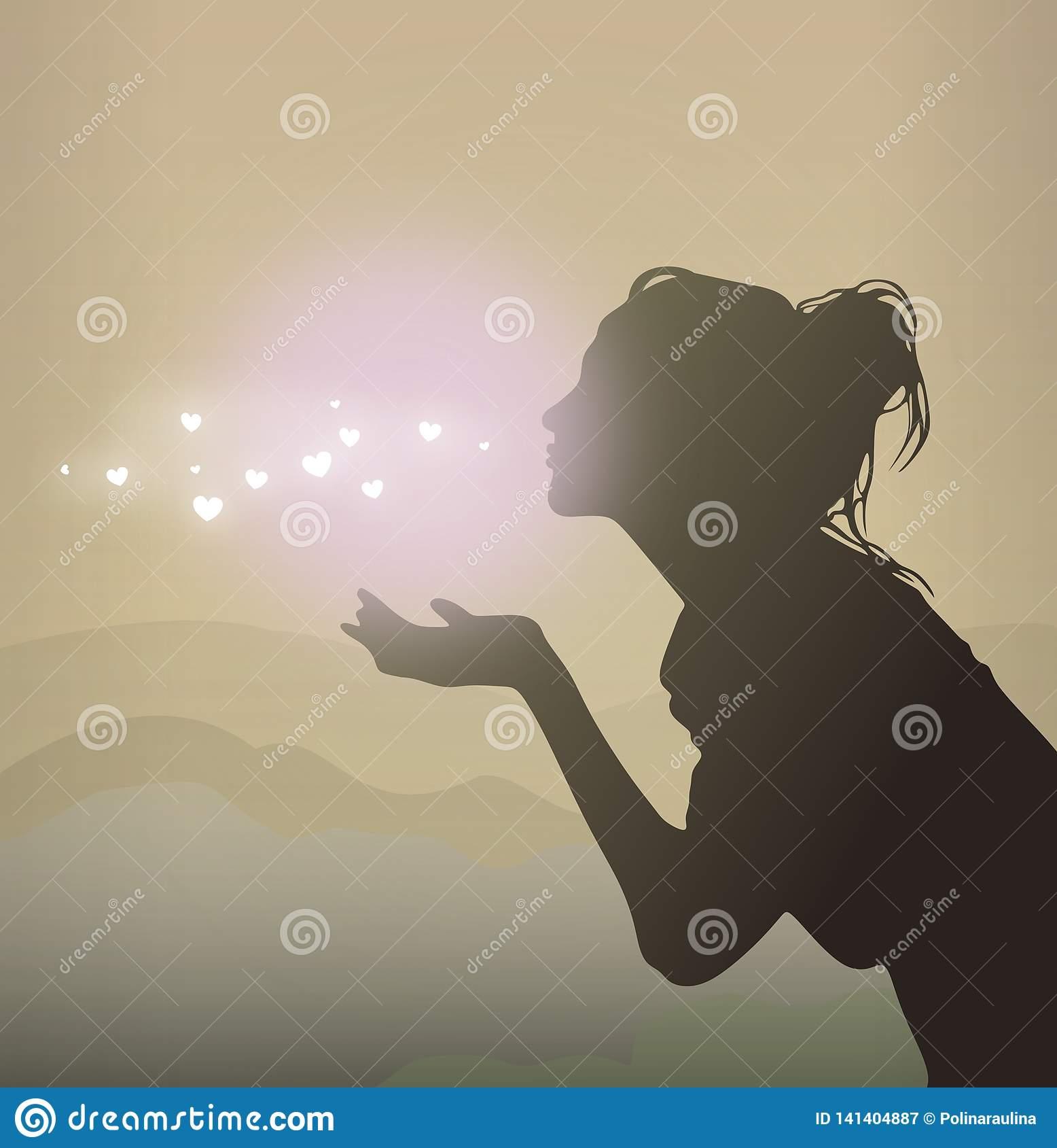 Pretty girl sending air kiss .Women vector silhouette.