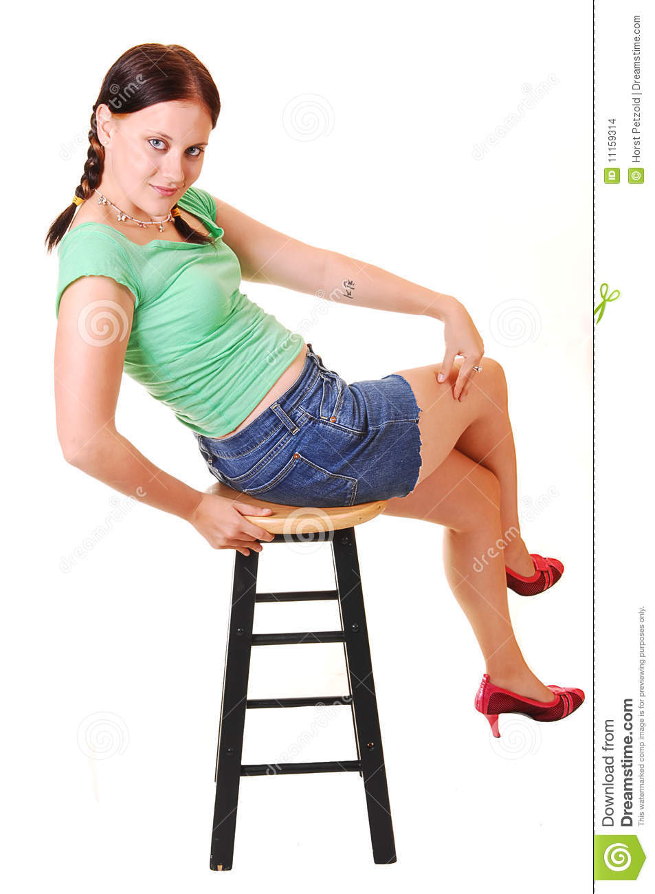 Pretty Girl Sitting On Bar Chair Stock Images Image