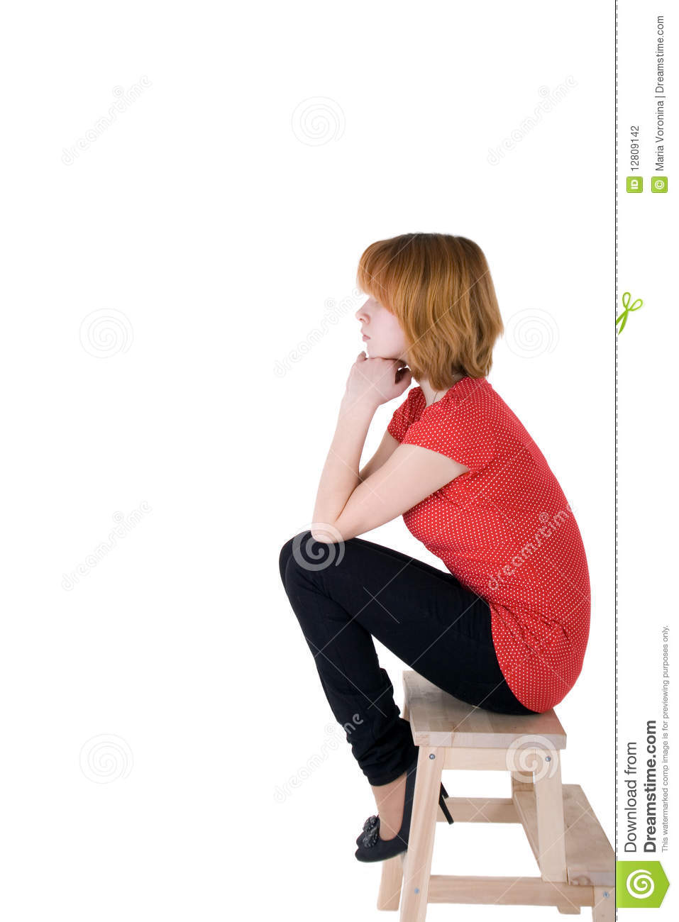 Pretty Girl Sitting On A Chair Stock Photo - Image: 12809142