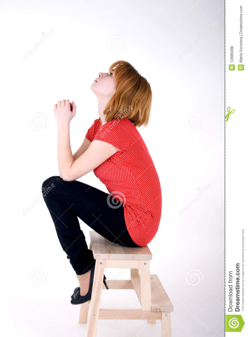 Pretty Girl Sitting On A Chair Stock Photo - Image: 12886288