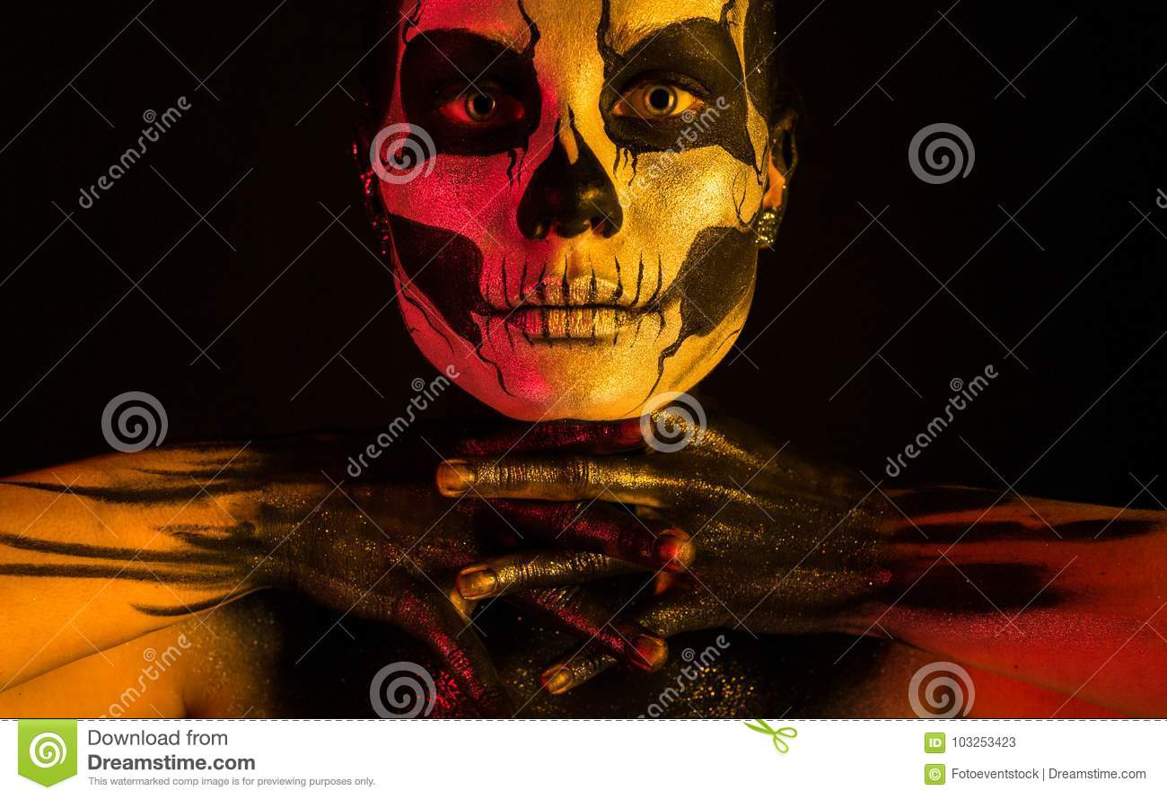 Pretty Girl With Skeleton Makeup Stock Image Image Of