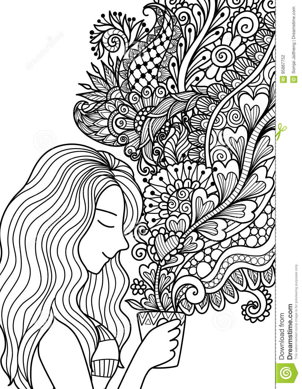 Pretty Girl Smell The Floral Coffee Smoke For Design Element And ...