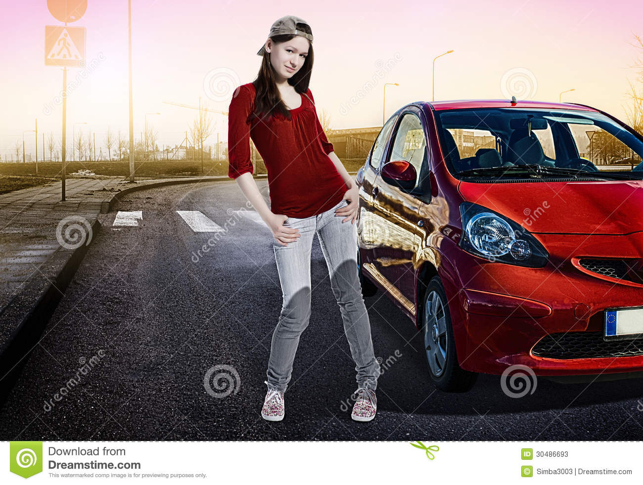 pretty girl standing next to her first car outside stock photos image 30486693. Black Bedroom Furniture Sets. Home Design Ideas