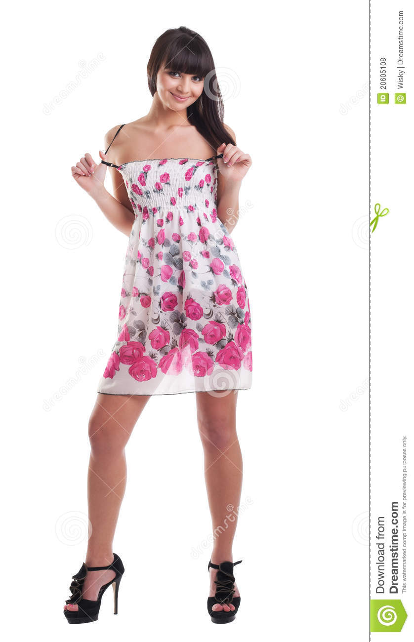 Pretty girl in summer transparent dress isolated stock - Photo dressing ...
