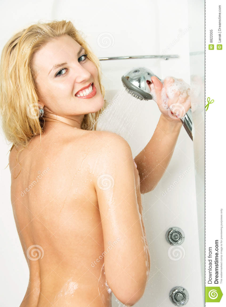 Nude women taking shower video
