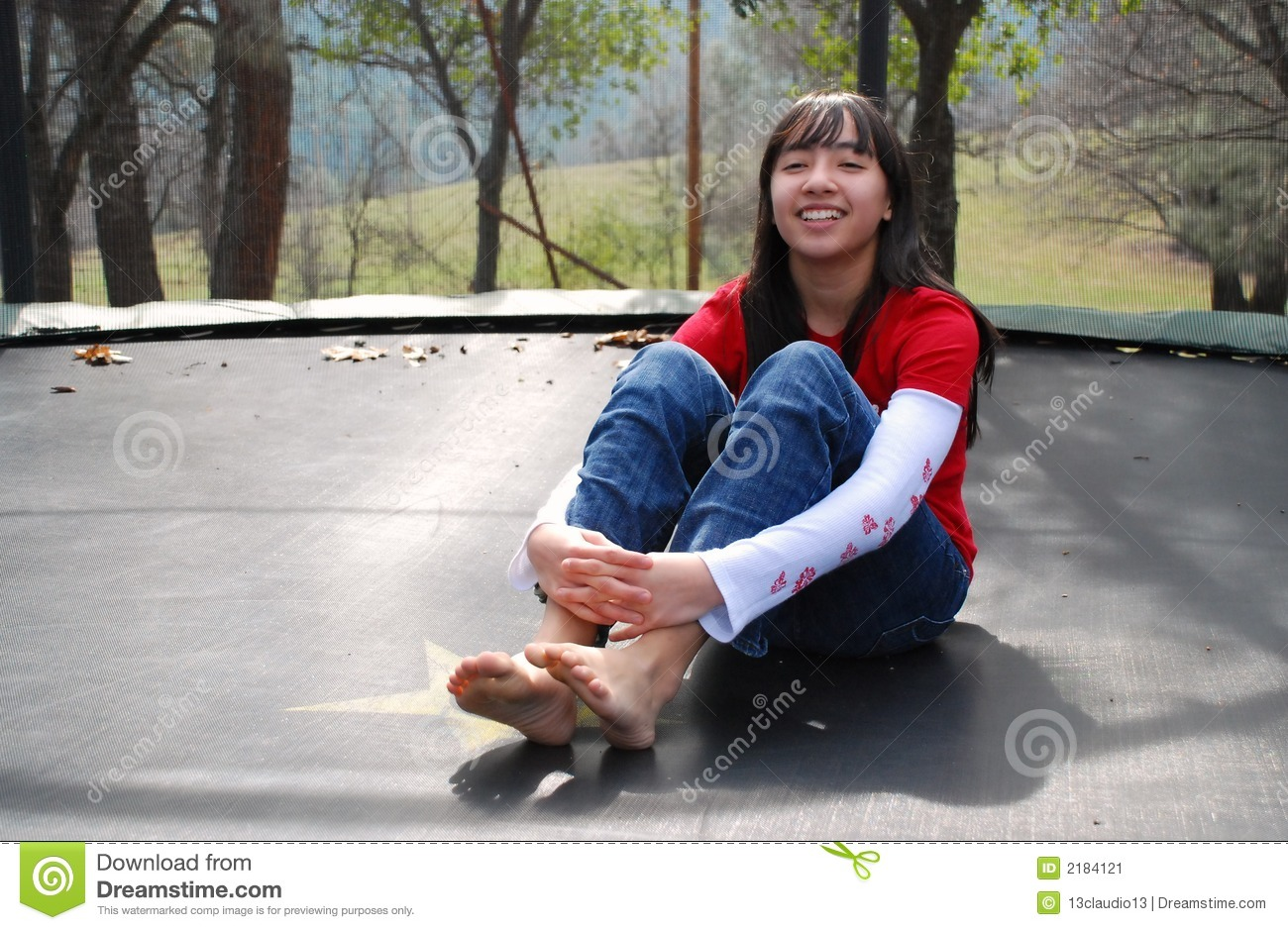 Pretty Girl On Trampoline Stock Image Image 2184121