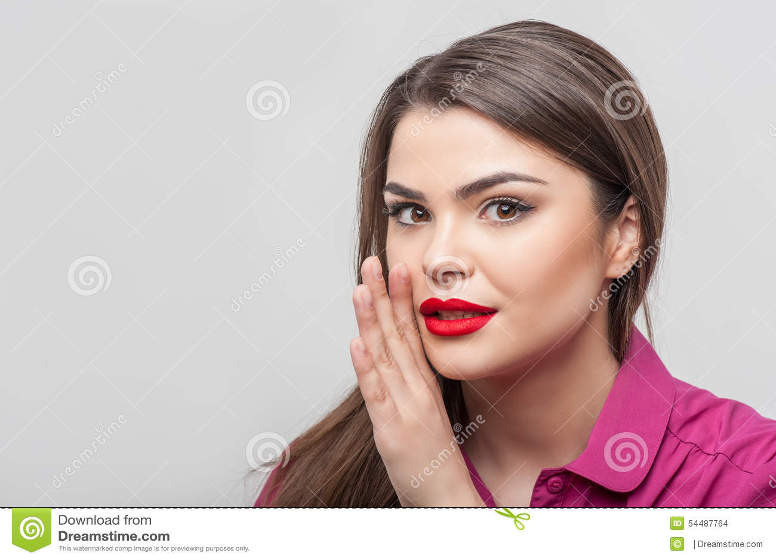 Pretty Girl Tv Journalist Is Telling A Secret Stock Photo