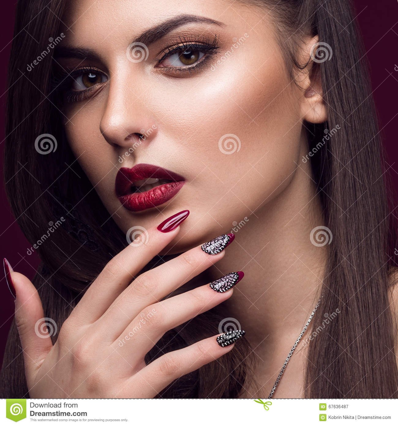 Lipstick Pretty Girl Faces: Pretty Girl With Unusual Hairstyle, Bright Makeup, Red