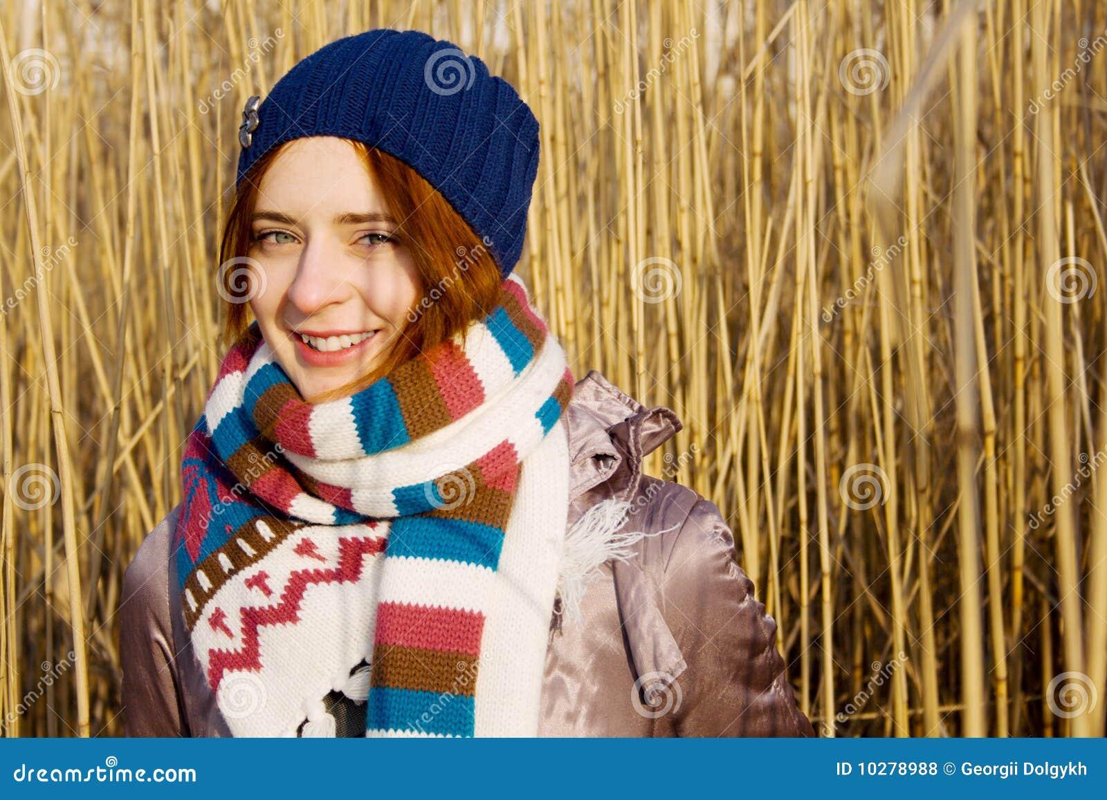 Pretty girl in a warm scarf
