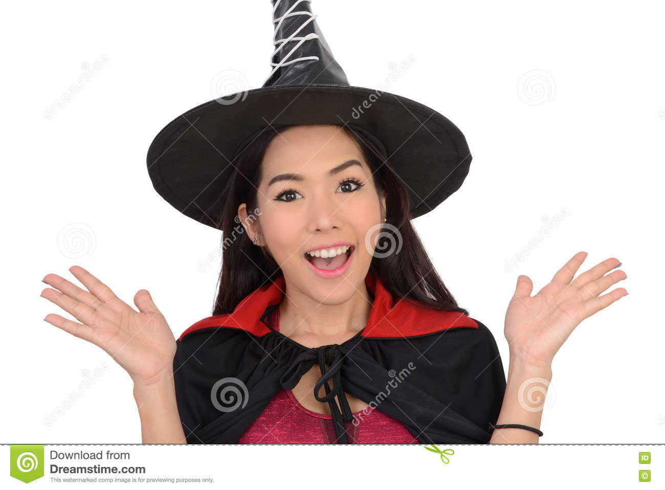 Pretty Girl In Witch Costume In Surprise Feeling. Stock Photo ...