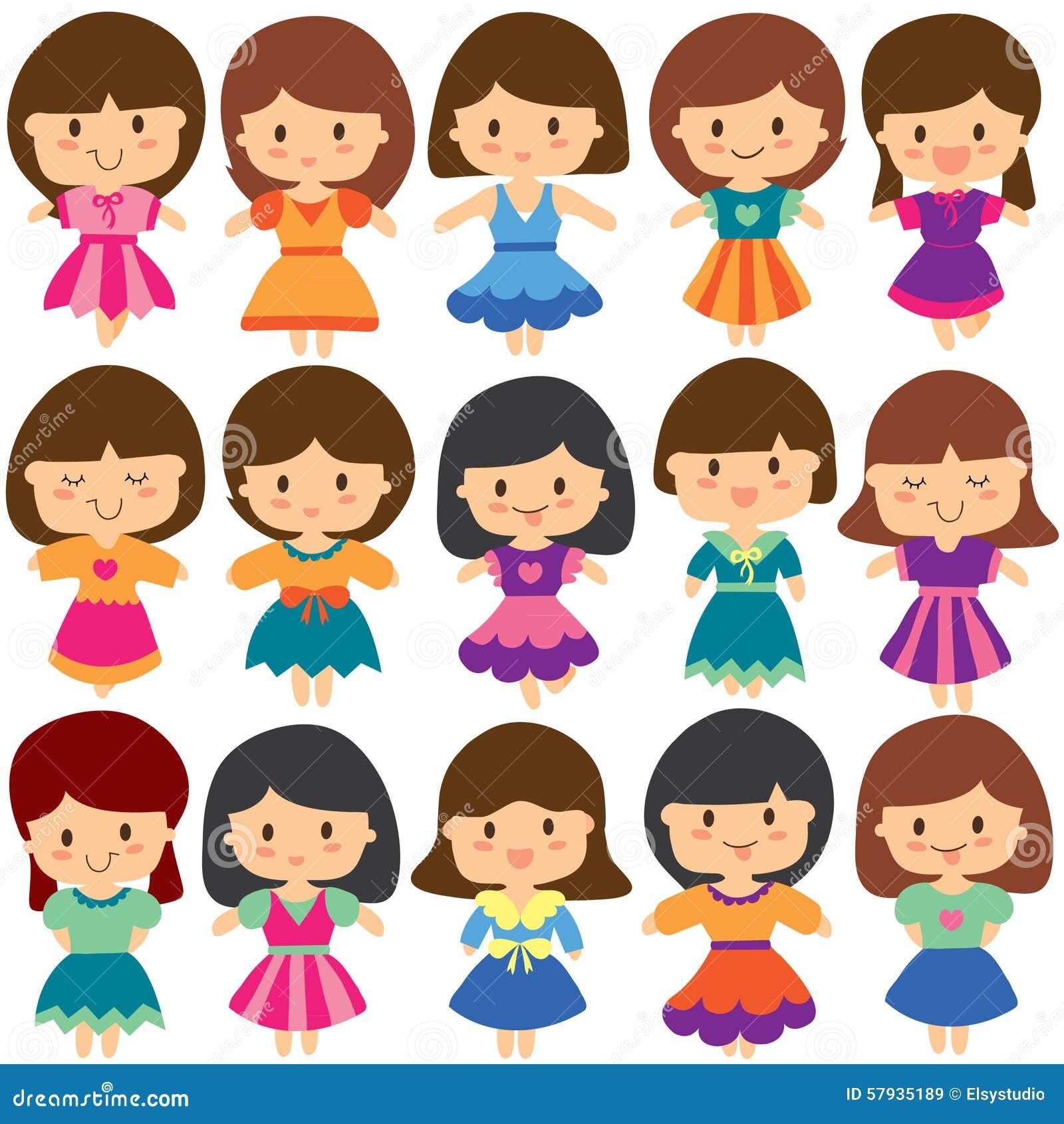 pretty girls clip art set stock vector illustration of friends rh dreamstime com clipart girl swimmer clipart girl skipping