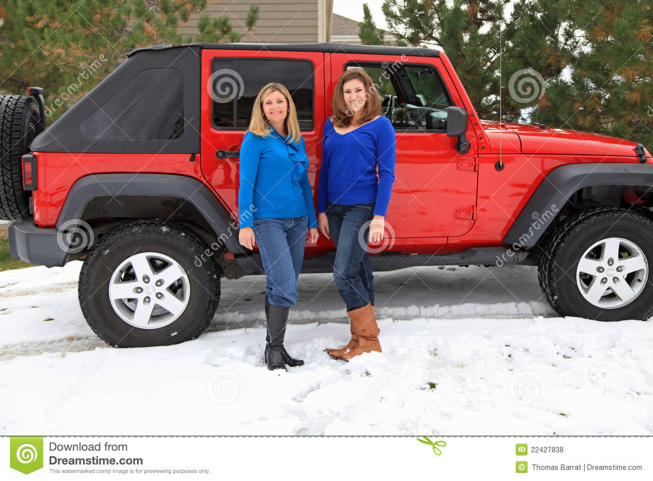 Pretty Girls Having Fun By A Jeep Royalty Free Stock Photos Image 22427838