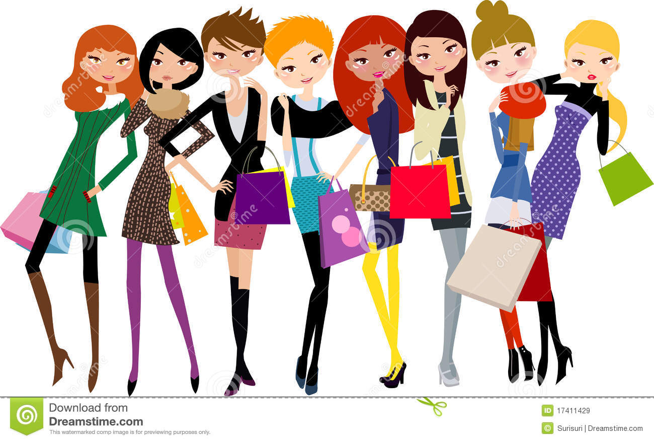 Desenho 2d Online Pretty Girls With Shopping Bag Royalty Free Stock Images