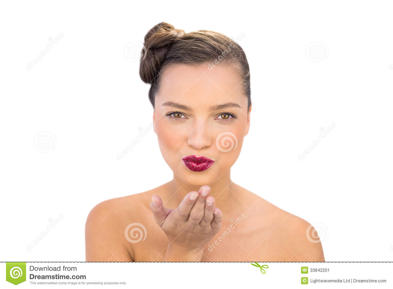 woman blowing kiss nude
