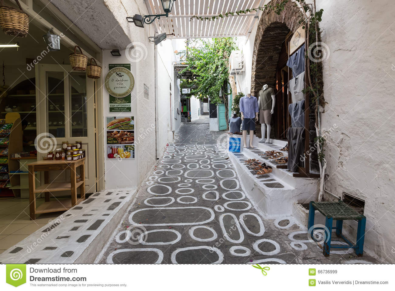 Pretty Greek Path With Stores In Ios Island Cyclades Greece