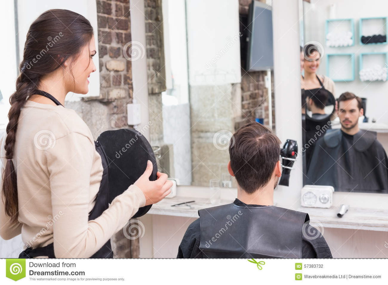 Pretty Hair Stylist Showing Man New Haircut Stock Photo Image Of