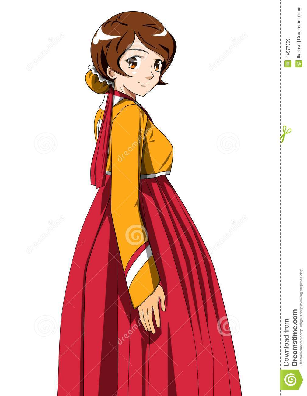 An original cartoon character in her favourite Hanbok (Korean dress).
