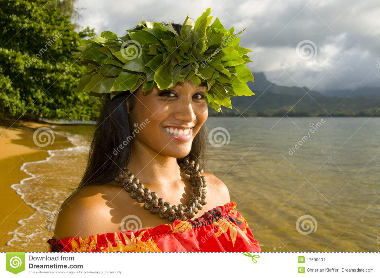 Portrait of a pretty Hawaiian girl on the beach in Kauai.
