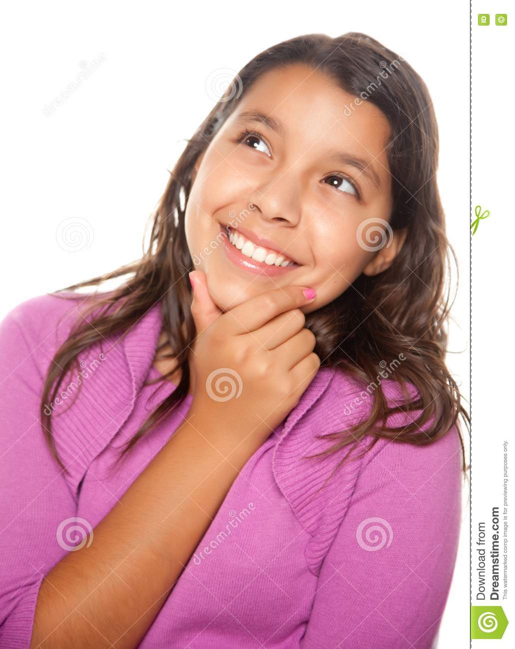 Pretty Hispanic Girl Thinking Royalty Free Stock