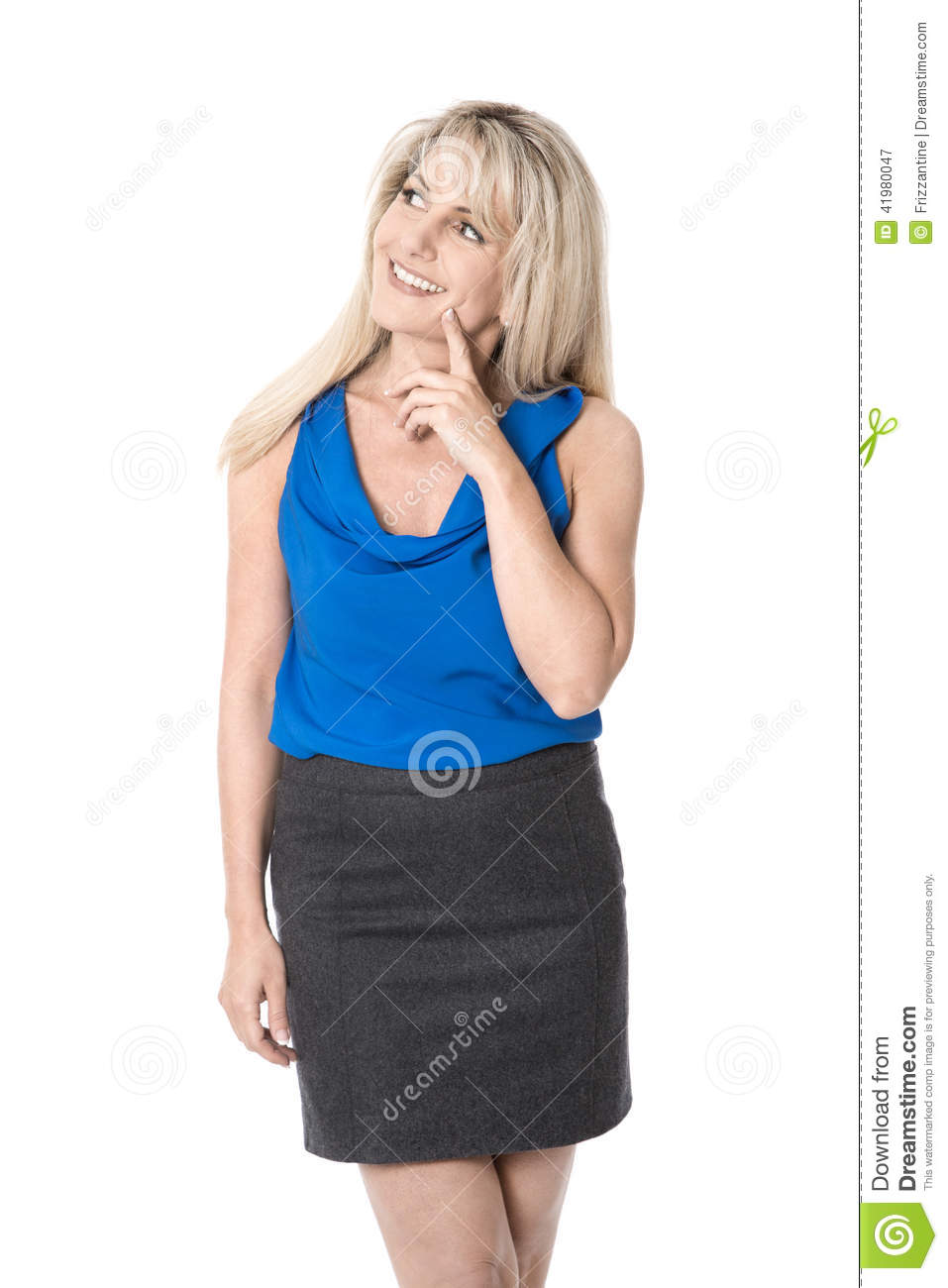 Pretty isolated businesswoman smiling and looking satisfied side