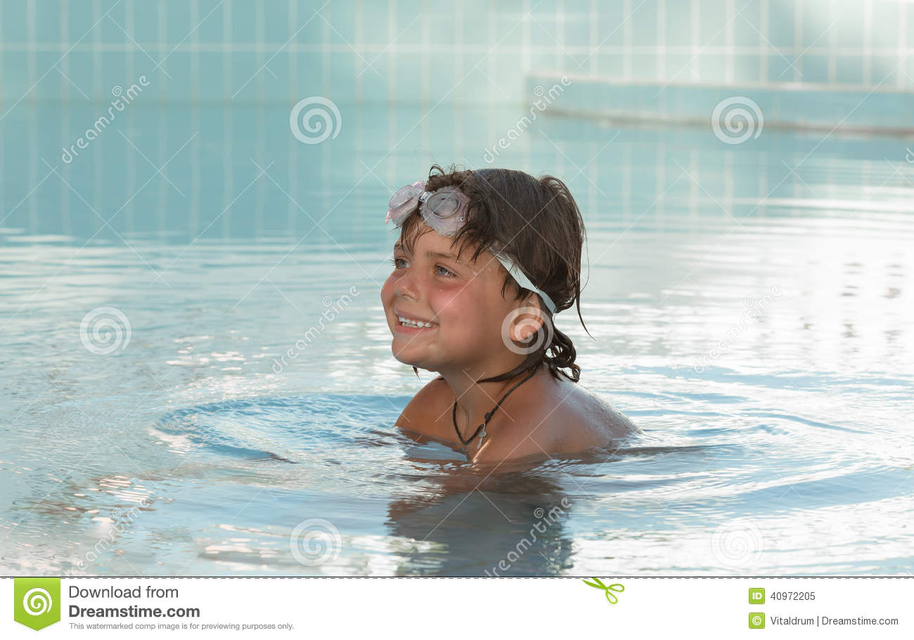 Pretty Smiling Little Girl In Swimming Pool Royalty Free Stock Photo 89053095