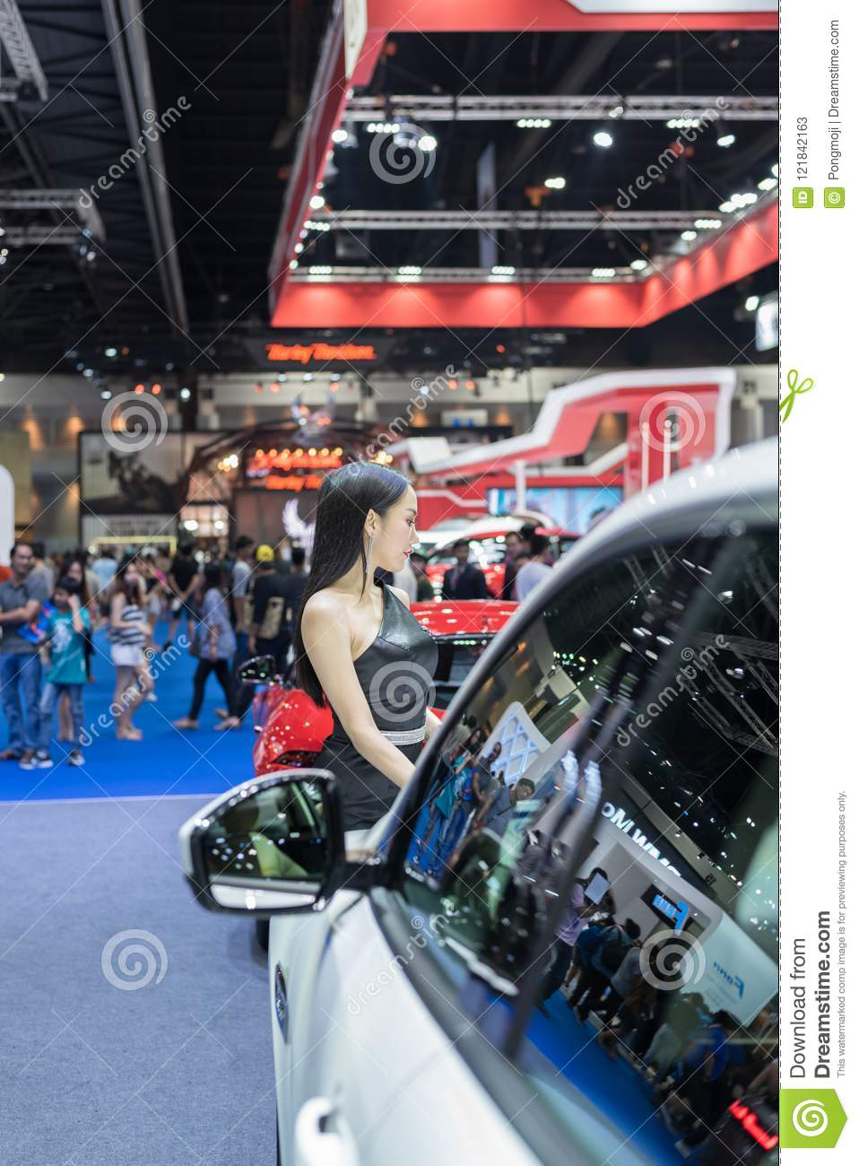 Pretty Lady Beauty And In Car Show Event Editorial Stock Photo - Car show display mirrors