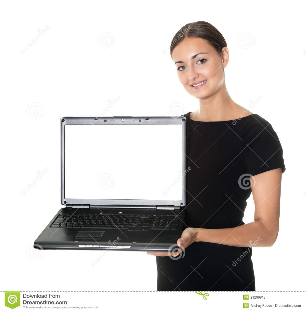 Pretty lady presenting a new laptop on white