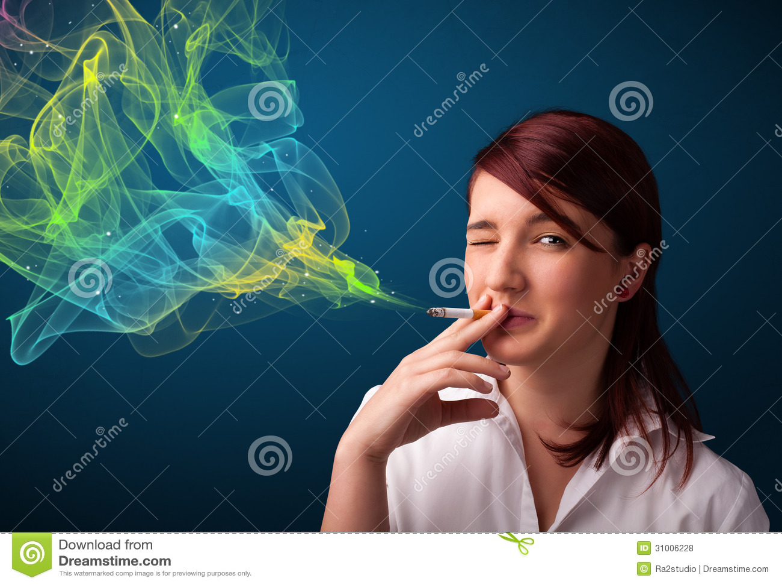 Pretty Lady Smoking Cigarette With Colorful Smoke Royalty