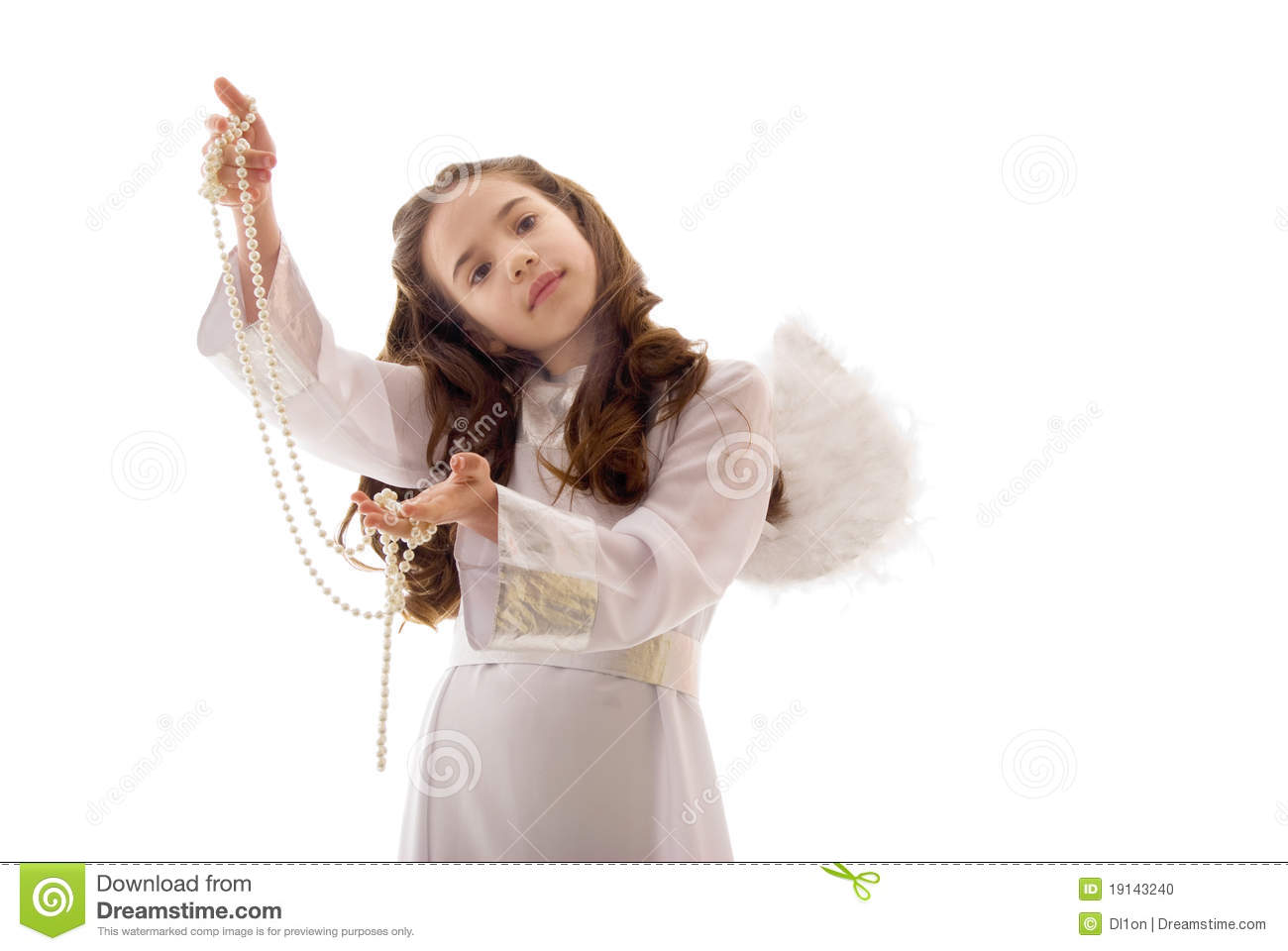 pretty little angel with pearl necklace stock photo