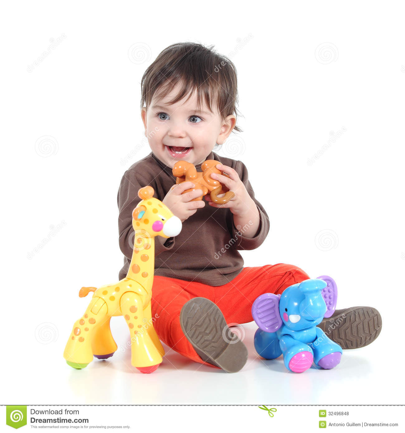 Adorable Little Girl Playing With Beach Toys During: Pretty Little Baby Girl Playing With Animal Toys Stock