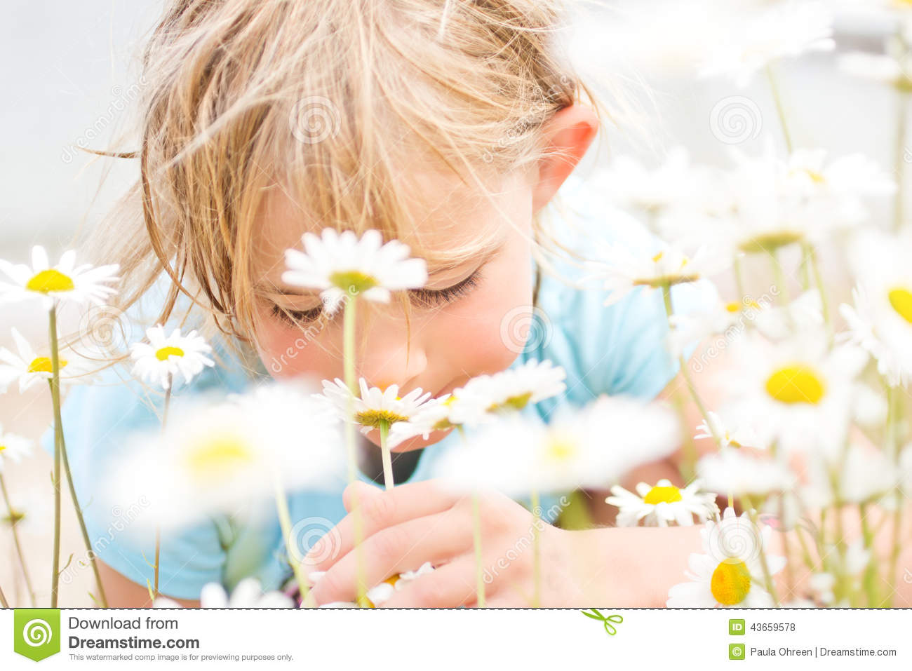 Pretty Little Blond Girl Smelling Daisies