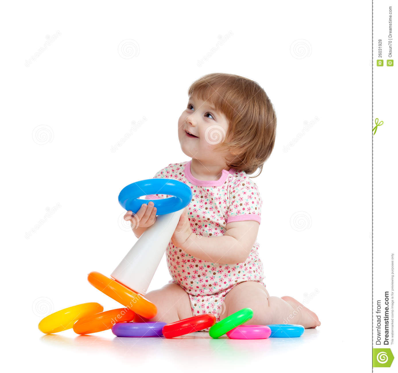 Pretty Little Child Or Kid Playing With Color Toy Stock Photo ...