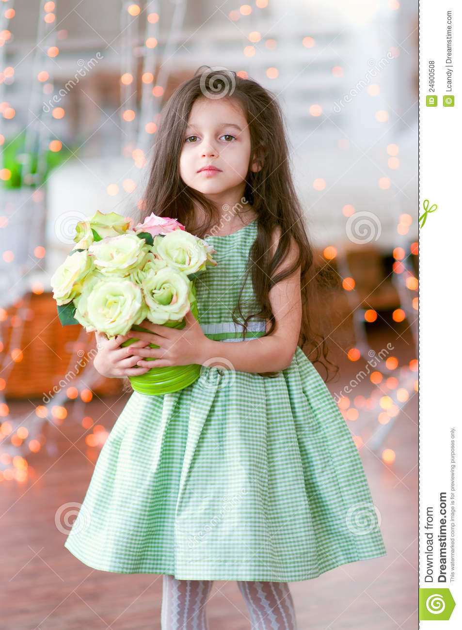 Pretty Little Girl In Beautiful Green Dress With R Royalty