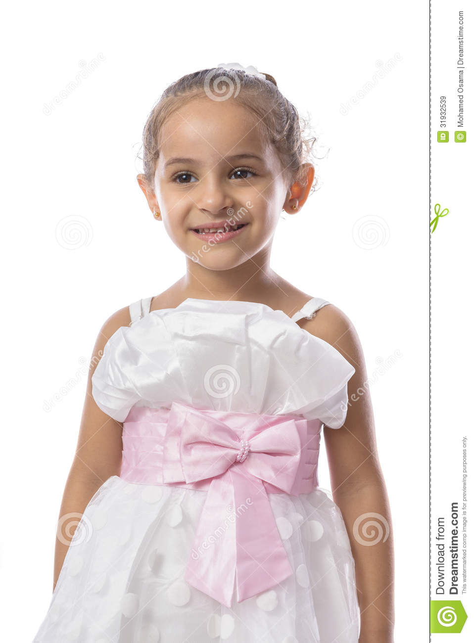 pretty little girl in beautiful white dress stock image. Black Bedroom Furniture Sets. Home Design Ideas