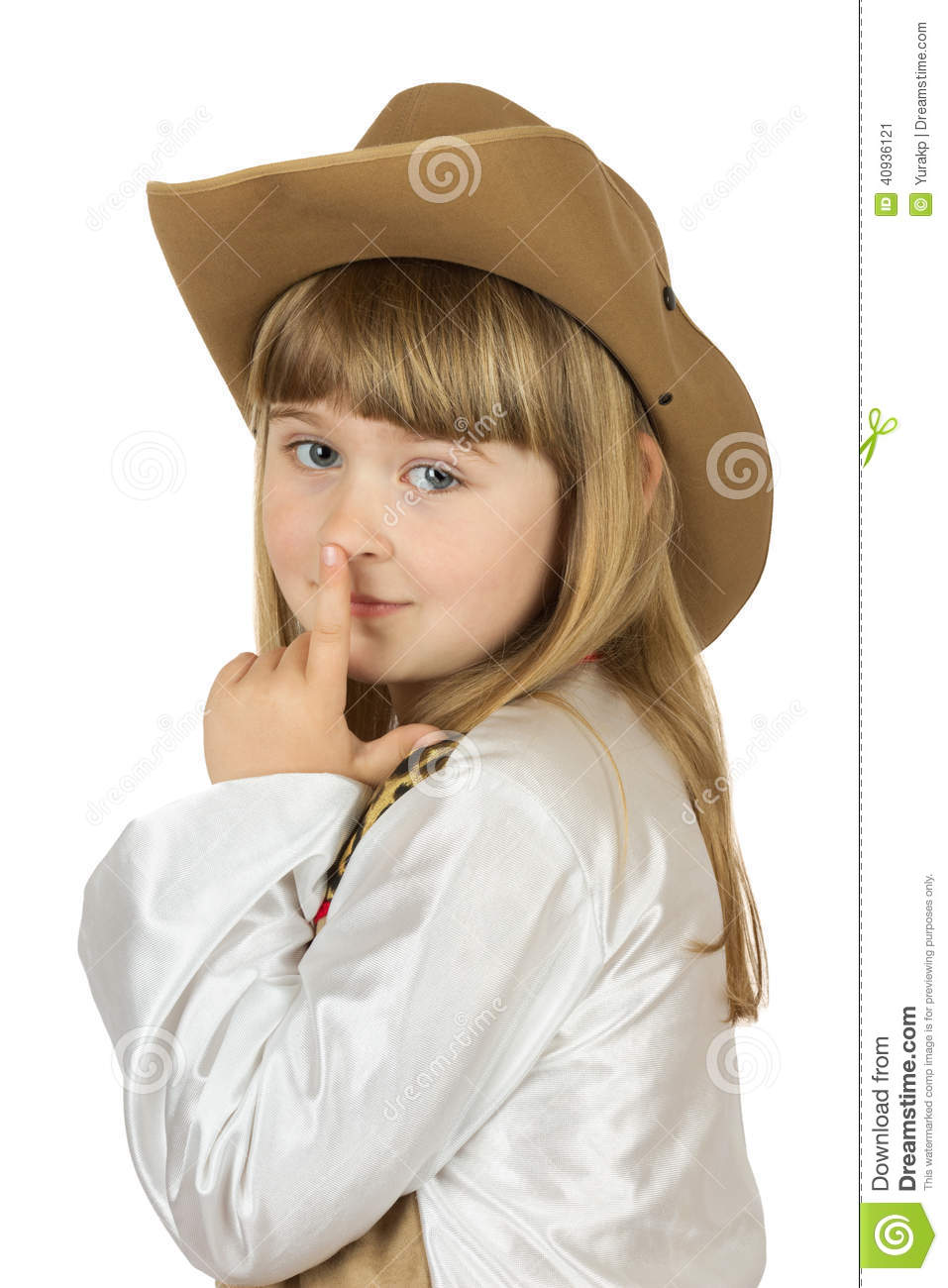 cb0161e5efbcf Pretty Little Girl In Cowboy Hat On The White Background Stock Image ...