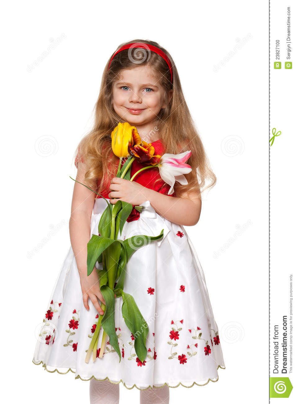 Pretty Little Girl With Flowers Stock Photo Image Of Preschooler