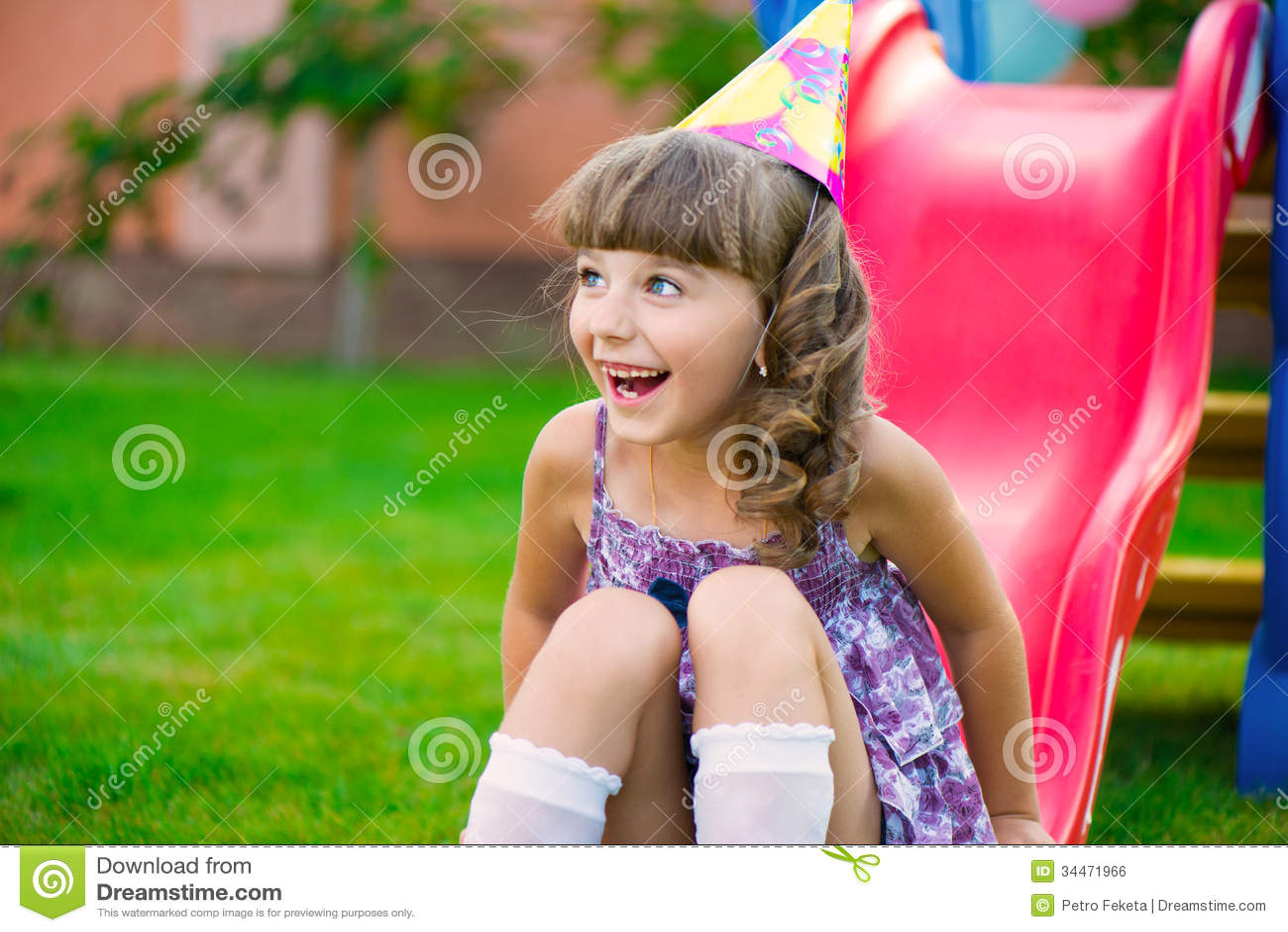 Pretty Little Girl Having Fun On Playground Royalty Free Stock Image ...