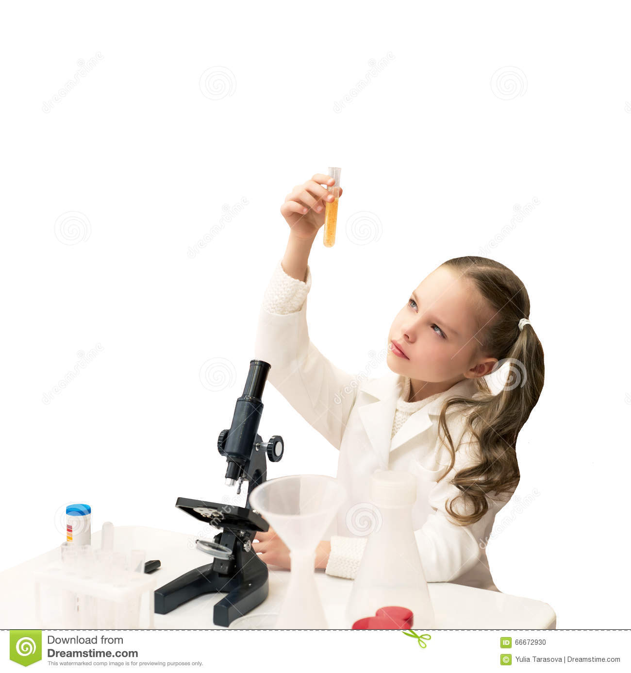 Pretty Little Girl Is Making Science Experiments And