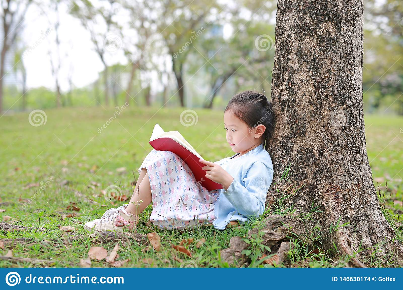 Pretty little girl reading a book sitting under a tree outdoor garden at summer day
