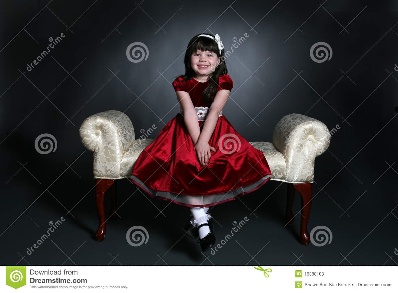 Pretty Little Girl In Red Holiday Dress Stock Photo , Image