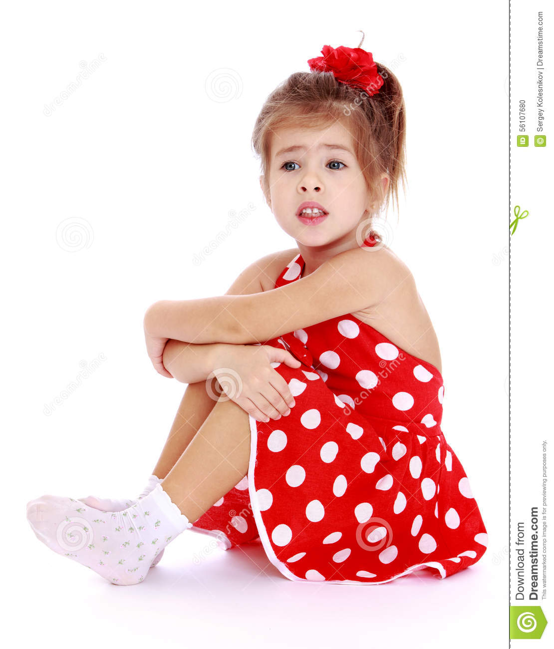 Little Girl Kid In Red Dress With Bow Child Isolated On