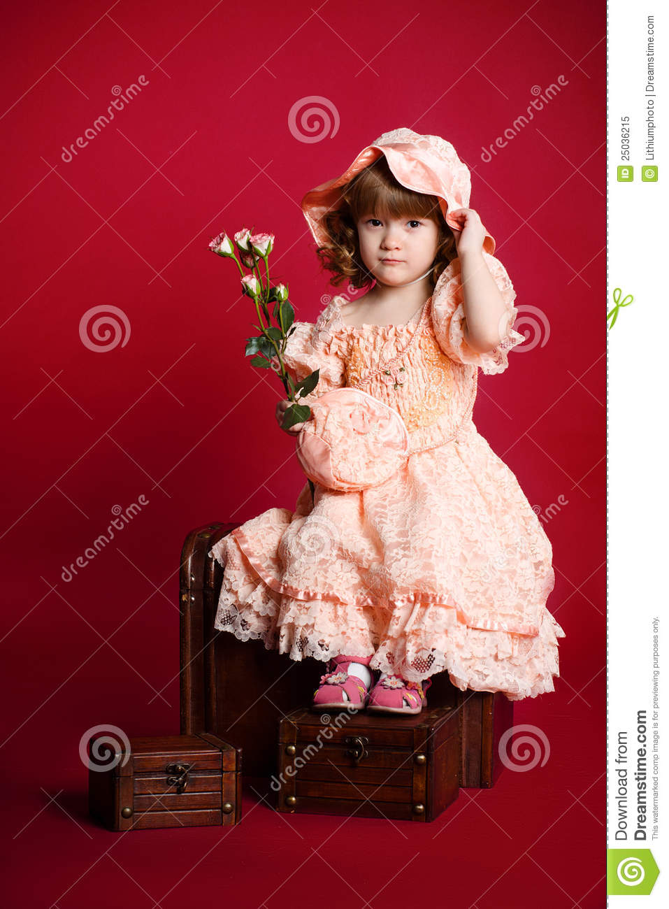 Pretty Little Girl With Rose Flower And Hat Stock Image Image Of
