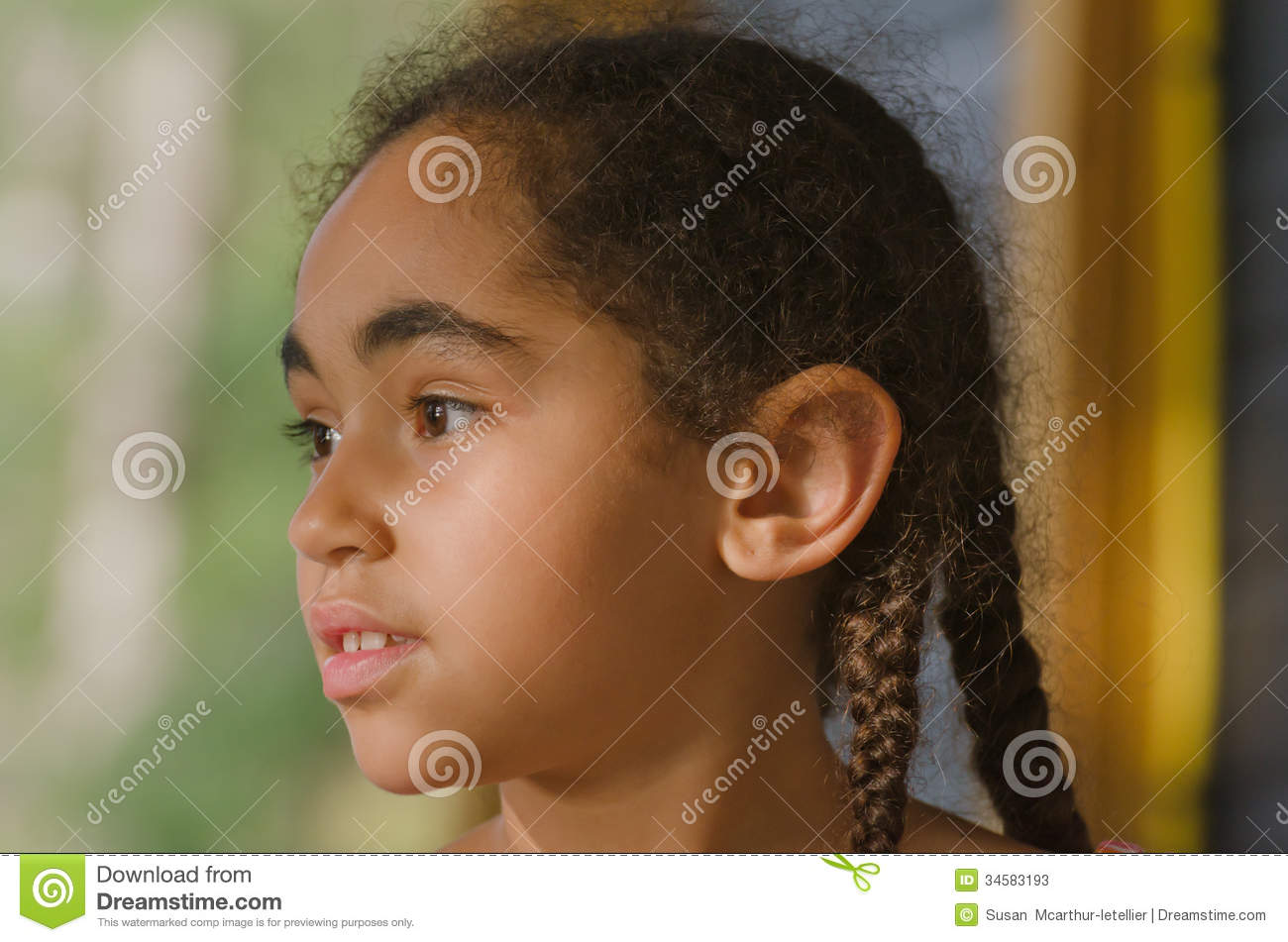 pretty little girl staring off stock image image 34583193